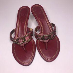 Cole Haan | Red Kina Kitten Heel Thong Sandals
